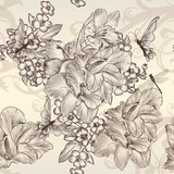 Beautiful vector seamless wallpaper with flowers in vintage styl