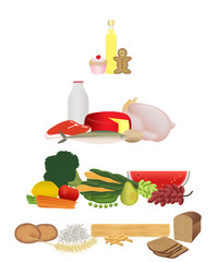 Healthy eating food pyramid illustration