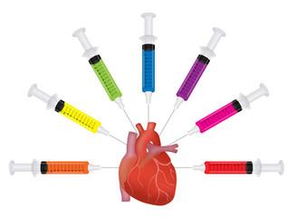 Concept illustration - over medication, heart disease, health