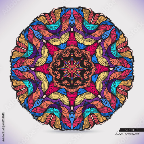 Colorful abstract vector circular lace.
