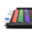 Black leather wallet with credit cards and money