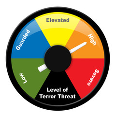 Illustration showing level of terror threat - High
