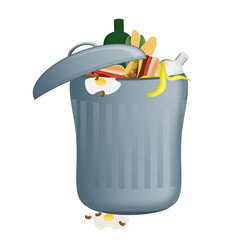 Rubbish bin filled with food waste