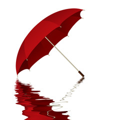 Illustration of a red umbrella with reflection in water