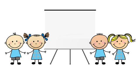Children with blank white board