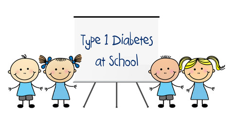 "Children with white board that says ""Type 1 Diabetes at School"""