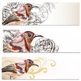Floral business cards set with birds and  flowers  for design