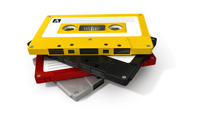 Stack Of Audio Cassette Tape