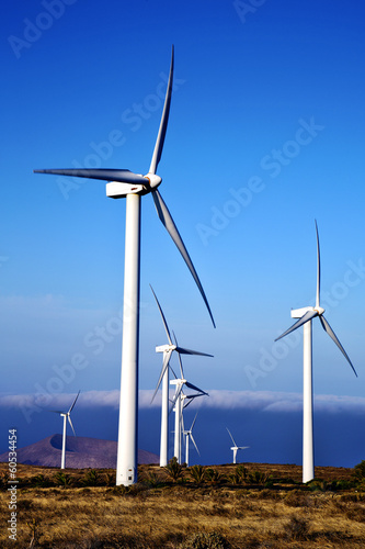 turbines and the sky in the isle of lanzarote spain