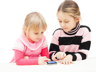 children use a smartphone