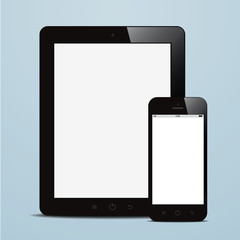 tablet and smartphone with blank screen blue background