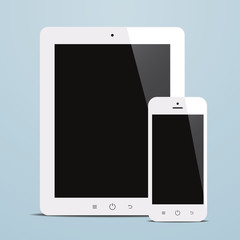 tablet and smartphone with black screen blue background