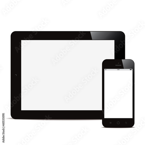tablet and smartphone with blank screen white background