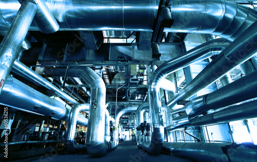 Fotobehang Industrial geb. Industrial zone, Steel pipelines and equipment