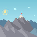 Flag On The Mountain Peak. Goal Achievement. Vector