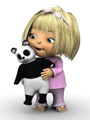 Cute toddler girl holding panda bear.