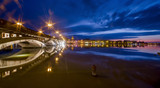 Fototapety Romantic city Bayonne at night