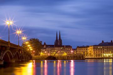 Romantic city Bayonne at night