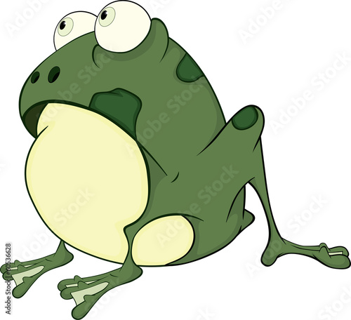 The green frog. Cartoon