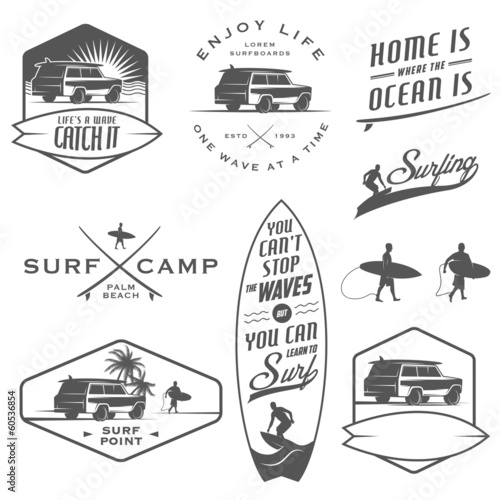 Fototapeta Set of vintage surfing labels, badges and design elements