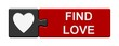 canvas print picture - Puzzle-Button grau rot: Find Love