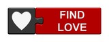 Puzzle-Button grau rot: Find Love