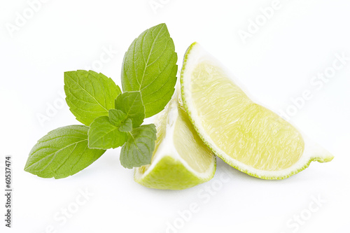 Lime segments with mint branch