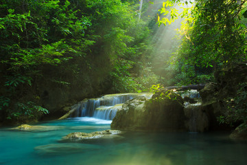 Relaxing view of Erawan waterfall, Erawan National Park