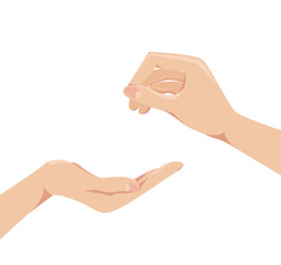 Two human arms . concept give and receive