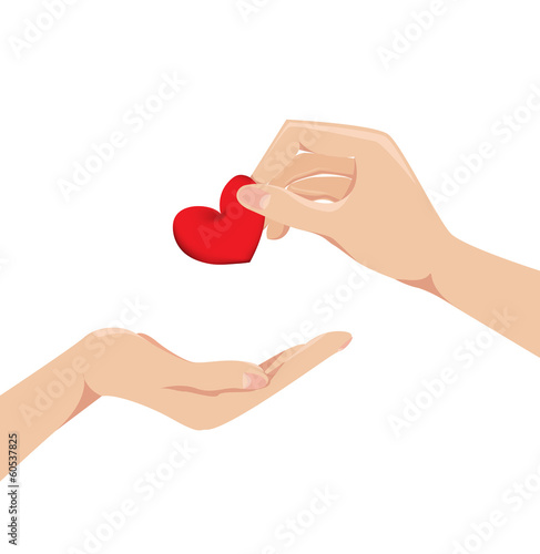 Love Concept of Hand giving heart to each other. Vector
