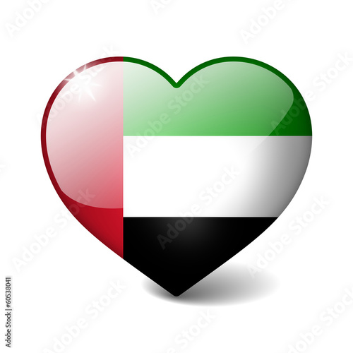 United Arab Emirates 3d glass heart with realistic shadow