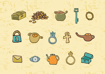 Treasure elements illustration. EPS vector file
