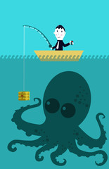 Business man catching big target (octopus)
