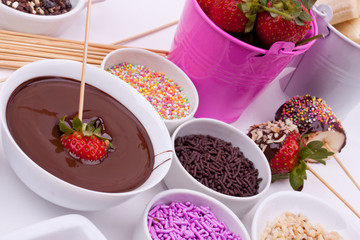 chocolate fondue with strawberry and banana