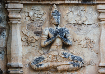 Detail of stone carvings in Wat Chet Yot, Chiang Mai