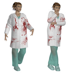 Female doctor in bloody robe