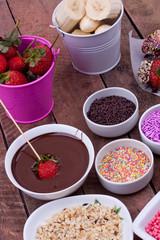 chocolate fondue with strawberry and banana