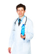 Portrait of a male doctor holding bottle of water on white backg