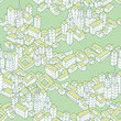 Modern Green City seamless pattern