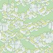 Modern Green City seamless pattern
