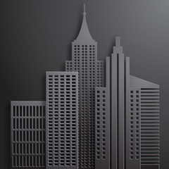 Abstract 3D Paper  Black Skyscrapers