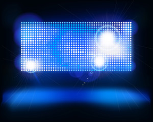 Screen on stage. Vector illustration.