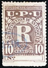 Postage stamp Colombia 1899 Letter R, Registration Stamp