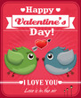 Vintage Valentine poster design with birds