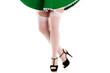 female legs in stockings in a dress leprechaun