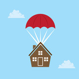 House parachuting from the sky