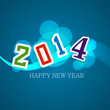 Vector illustration blue colorful style for happy new year 2014