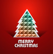 Beautiful merry christmas tree colorful background vector