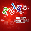 Merry christmas for happy new year 2014 colorful vector design