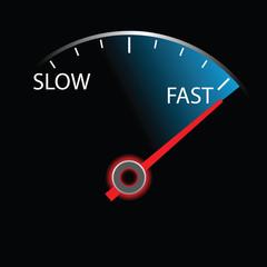 Speedometer on black background (vector)
